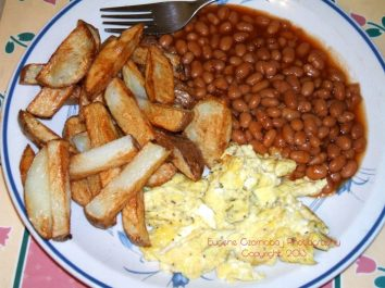 fries eggs beans