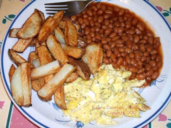 fries eggs beans