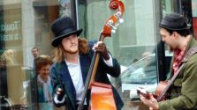 "Talented buskers-entertainers ""twist"" experience."