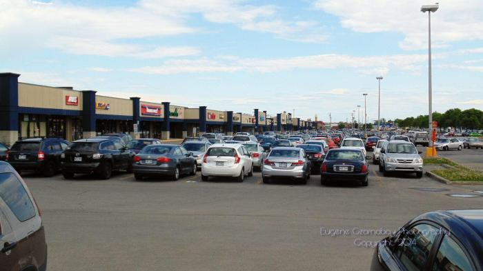 """Finding """"room"""" to park at shopping center is challenging."""