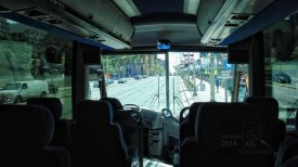 Adventure bus interior view.
