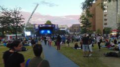 Music fans converge to the site for the next 2014 Montreal Jazz Fest act.