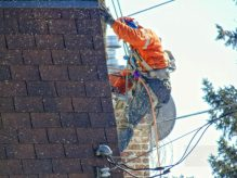 Fresh chainsaw home renovations work in neighborhood.
