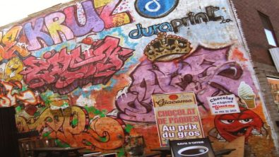 Easter chocolate special graffiti near Frontenac subway station.