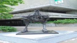 Metal scrap on rollerskates near the Montreal Museum of Fine Arts.