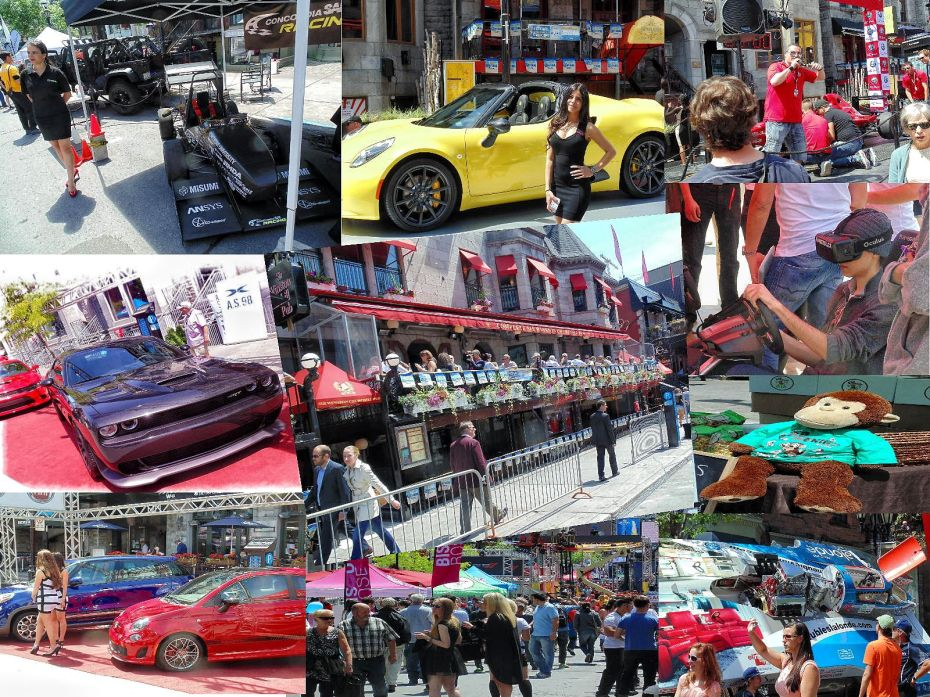 Grand Prix Thursday Montreal race fans enjoy beautiful girls and muscle cars.