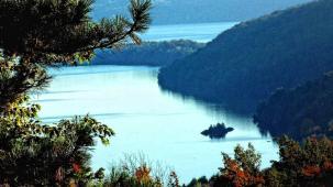 Off-season view of beautiful Lake Memphremagog from high hilltop.