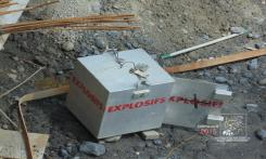 Explosif issue is whether metal container empty because terrorists got contents.