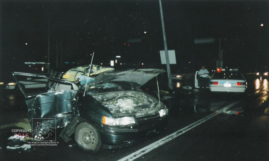 T-bone night the Chrysler mini-van lost control when broadsided.