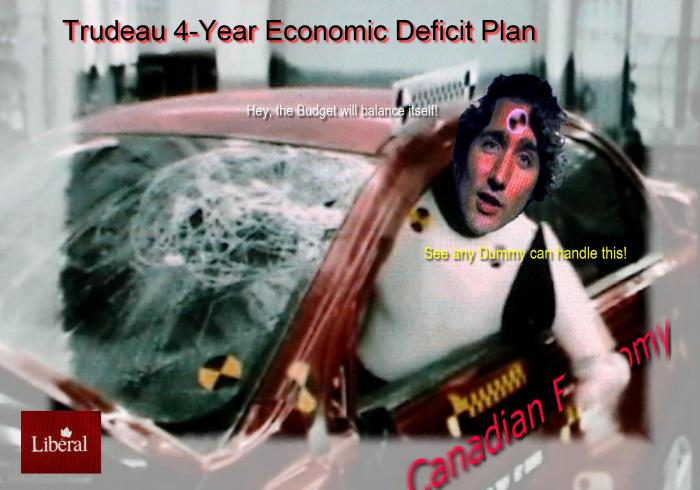 Economic crash test dummy, Justin Trudeau, will drive Canada's economy into the wall.