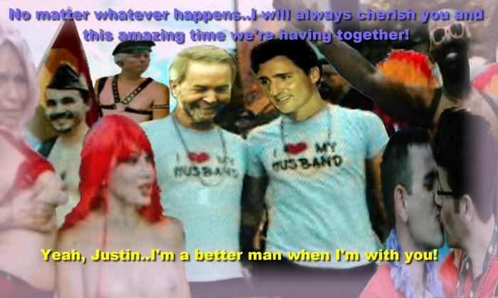 """Thomas, mon amour""  said Justin Trudeau excitedly to Mulcair meanwhile, Duceppe listened."