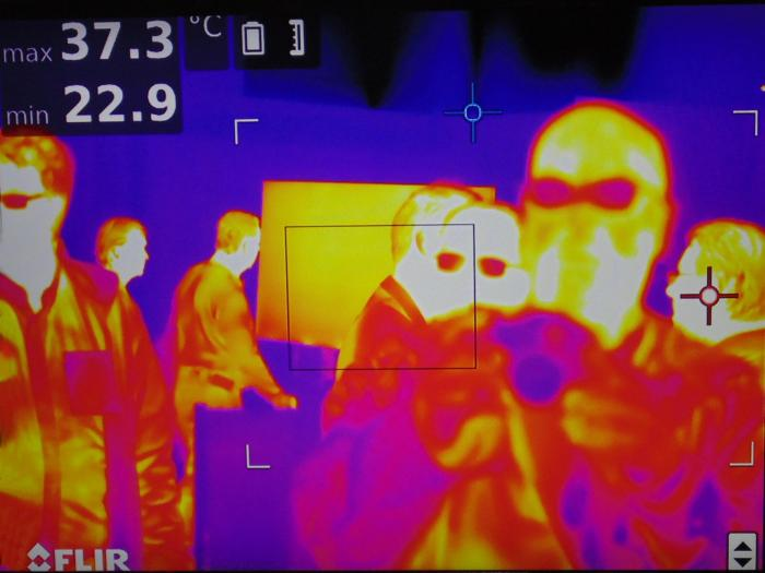 Advanced heat vision image shows human emitted infrared radiation .