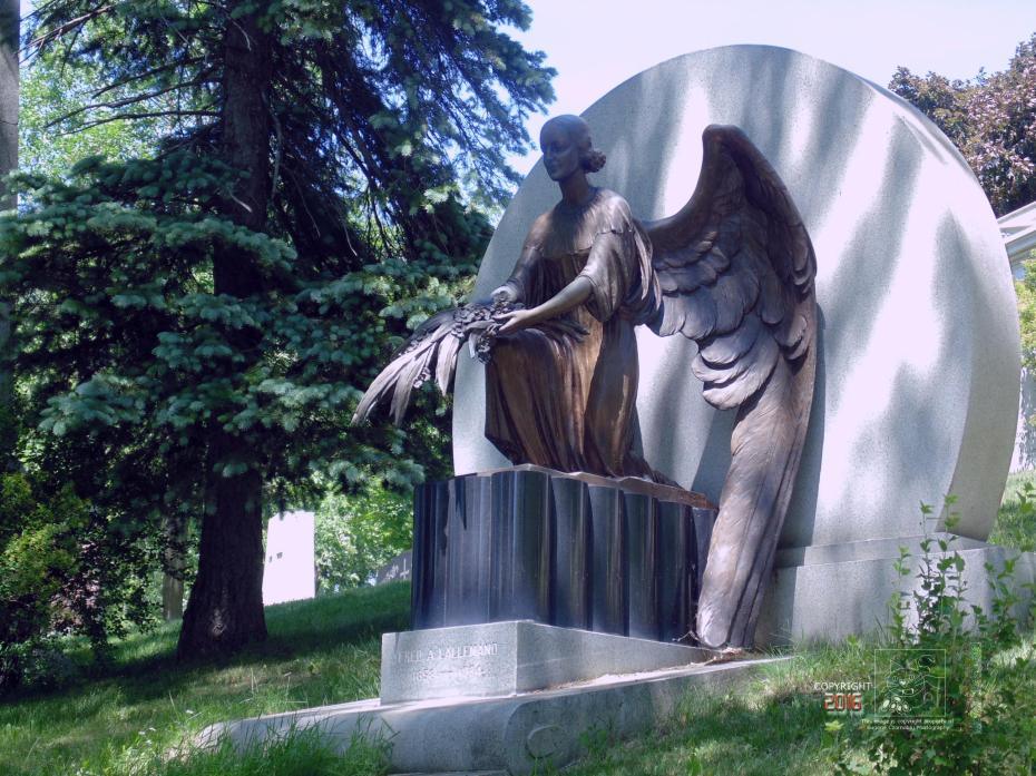 "No empty grave depicted here although an ""angel"" guards it reminiscent to the real one at Christ's crypt."