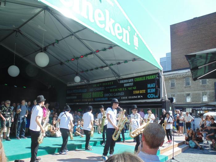 Musical island Japan's Tokyo Chutei-Iki saxaphone troupe playing great Jazz.