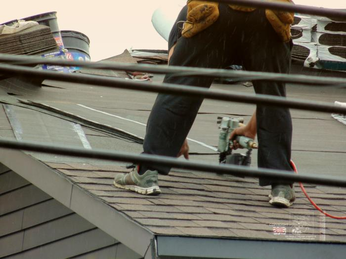 Roofing materials layers combine to keep home dry.