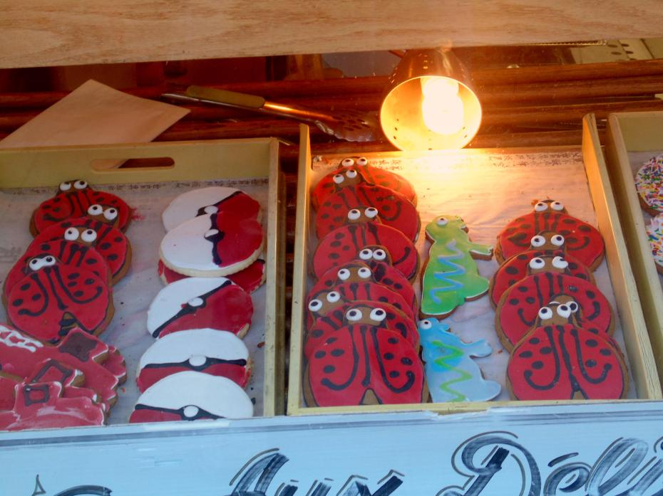 The ladybug cookie ghost haunts me I get flashbacks of Ottawa Byward Market bakery shop window display.