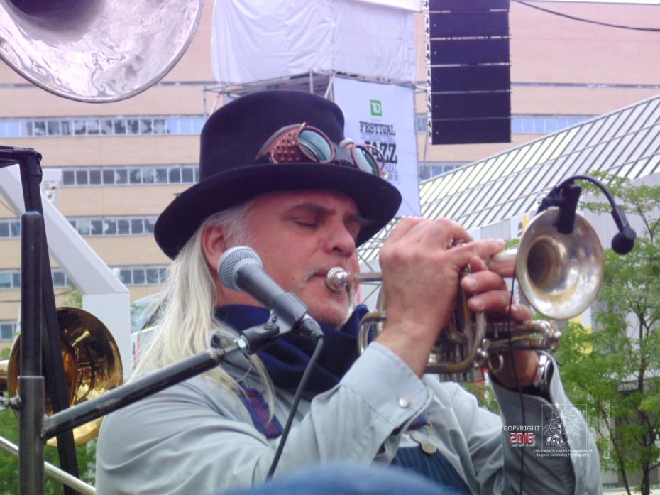 The passionate West Trainz trumpet player could really toot his instrument exciting enthusiastic Montreal Jazz fans.