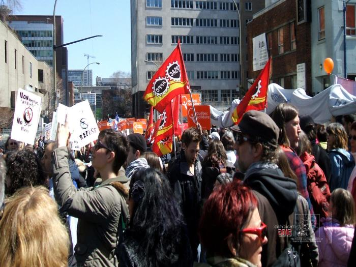 "Chaotic manifestation of concerned Quebecers celebrating ""Earth Day"" in downtown Montreal."