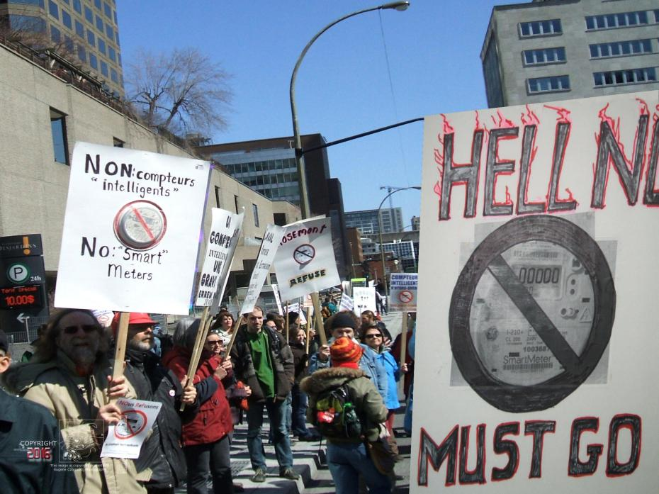 """Protests against """"smart"""" meters proliferation by Hydro Quebec without citizen's consent or real consultation."""