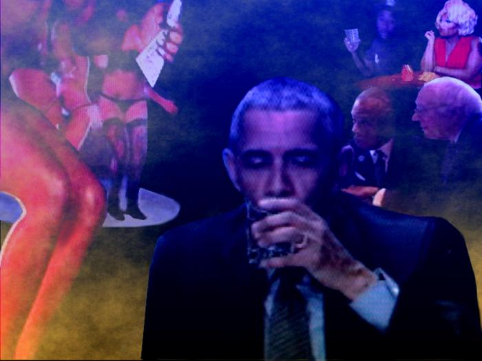Ex-president Obama always center of attention enjoys free time alone drinking in local, dim, smoke-filled strip bar.