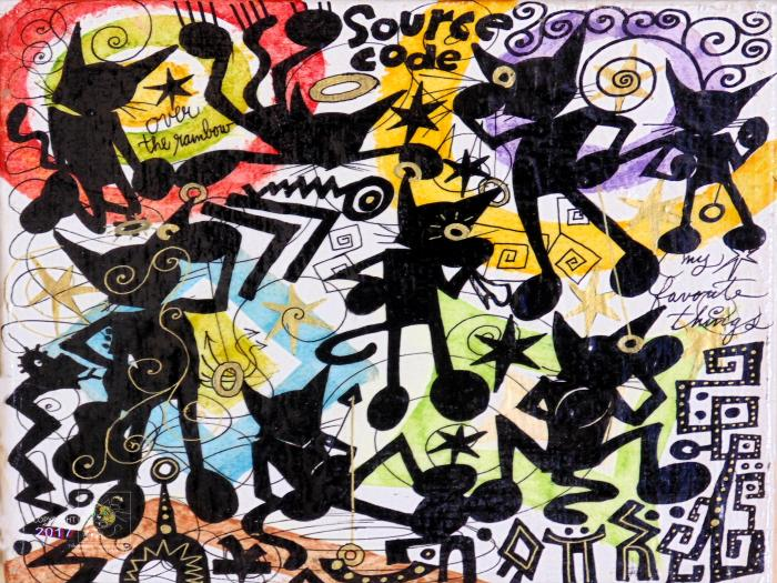 """Cool Kat abstract art work from 2016 Montreal International Jazz Festival's """"art gallery""""."""