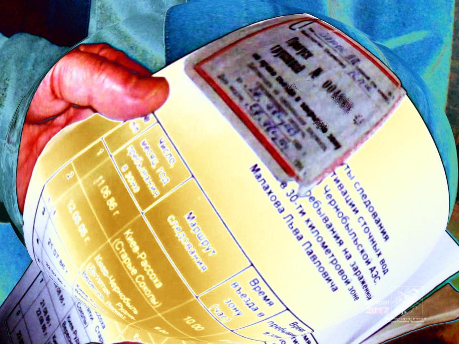 Liquidator holds Russian language radiological death passport detailing movement and exposure time in Chornobyl reactor zone.