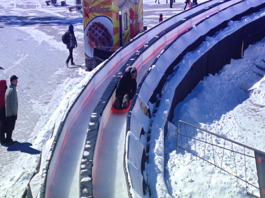 Cold February 2015 ensured Montreal festival's slide a very slippery track surface to zip toboggan at high speed.