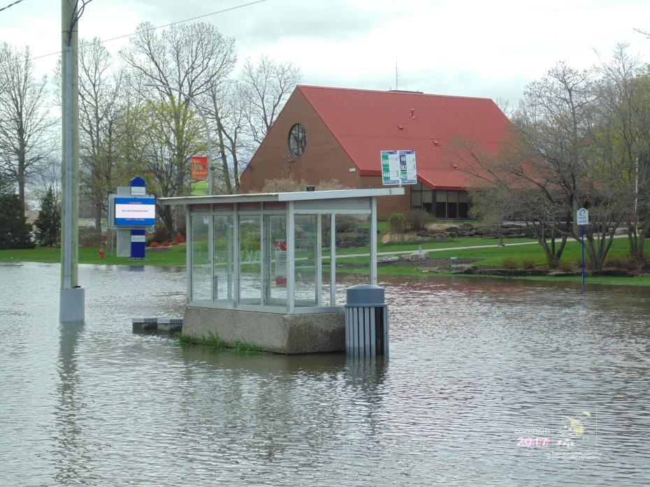 "Bus service is none as stop booth near borough municipal library stands an empty ""island"" surrounded by polluted flood water."