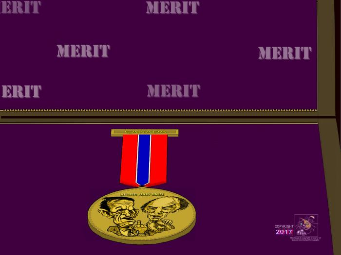 """""""He Lied Only Once"""" award medal newly introduced and given to its first ever worthy recipient, Minister of Defense Harjit Singh Sajjan."""