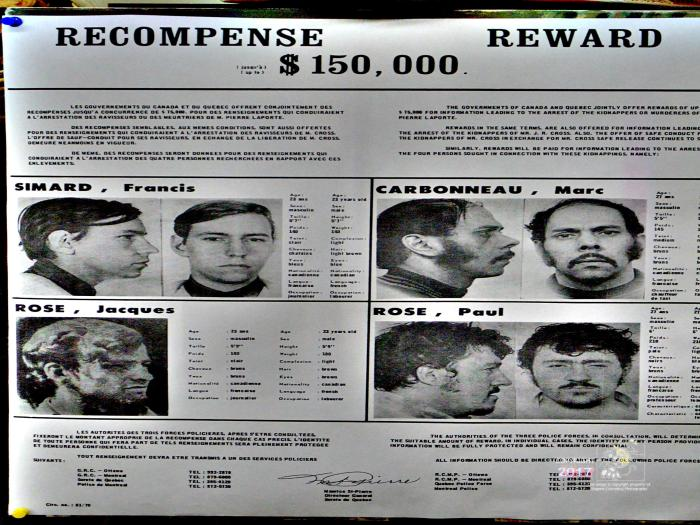 Notorious FLQ kidnappers depicted on old wanted poster caused 1970 October Crisis after kidnapping James Cross and Pierre laporte.
