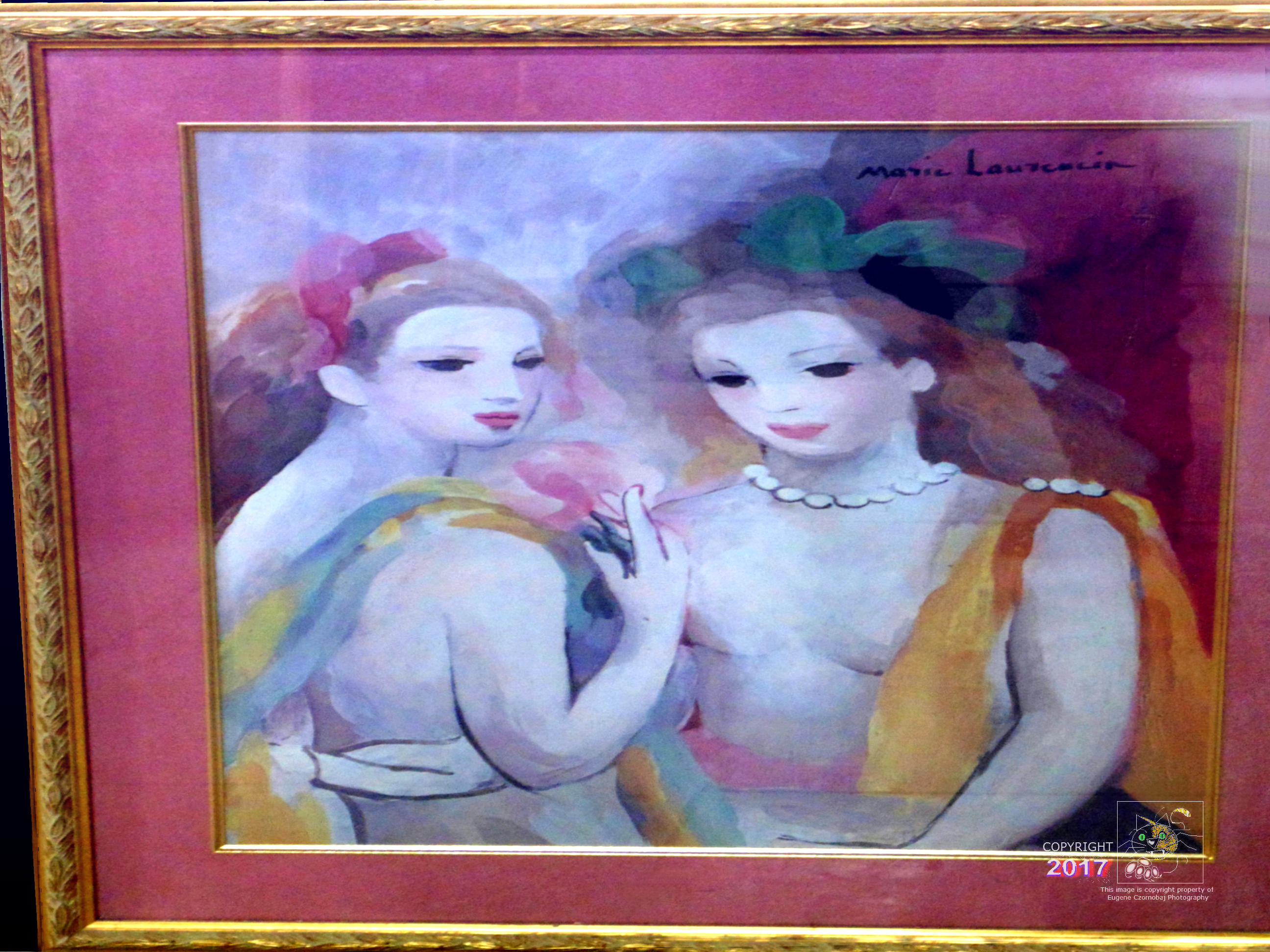 Pink ladies in gold frame twin sisters portrait is composed of pink variants and other colors.