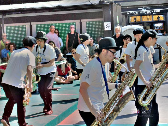 Japanese musicians from distant Tokyo, thirteen sax masters, play incredible hybrid music during 2016 Montreal International Jazz Festival.