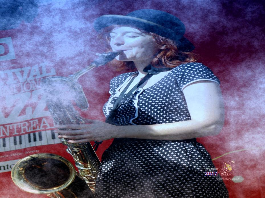 Imaginary Jazz saxophone great, a member of famous Sugar Brown's band, plays her musical instrument in Montreal.