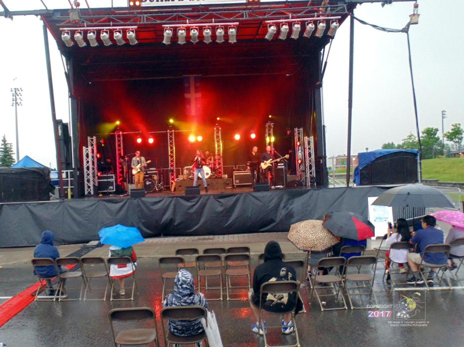True believer grit evident in mid-afternoon scene during lull in rain as diehards enjoy great music nobody else would.