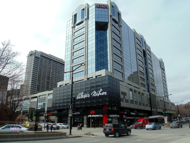 Alexis Nihon Plaza corner situated at intersection of Saint Catherine street and Atwater boulevard in Montreal.