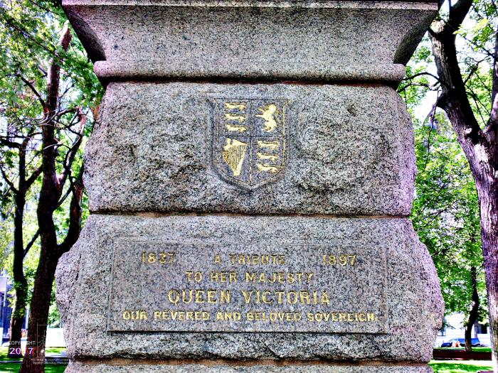 Granite monument in Montreal's Dorchester Square park pays homage to former sovereign British Queen Victoria.