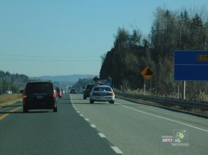 Highway security focused QPP has pulled over black SUV on Highway 10 probably for speeding.