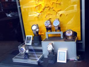 Old Birks and Sons jewelry knows how to pamper time with display of legendary Breitling watches.