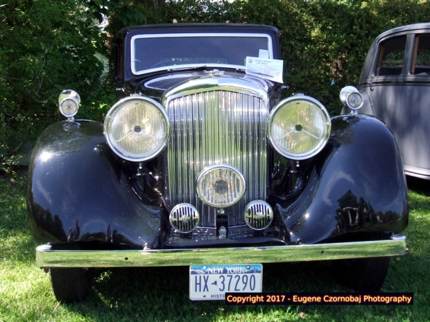 Once fashionable classic American car from upstate New York, USA at Hudson antique car show.