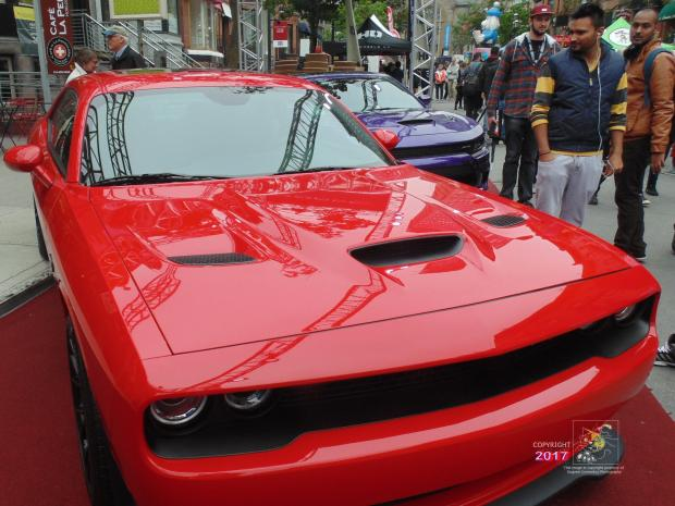 Some visitors to 2017 Montreal International Grand Prix weekend prefer red Fiat/Chrysler Charger.