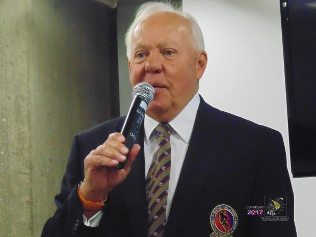 """Canadian hockey legend Ivan Cournoyer, the """"Road Runner"""", speaks at 2015 SME private luncheon."""