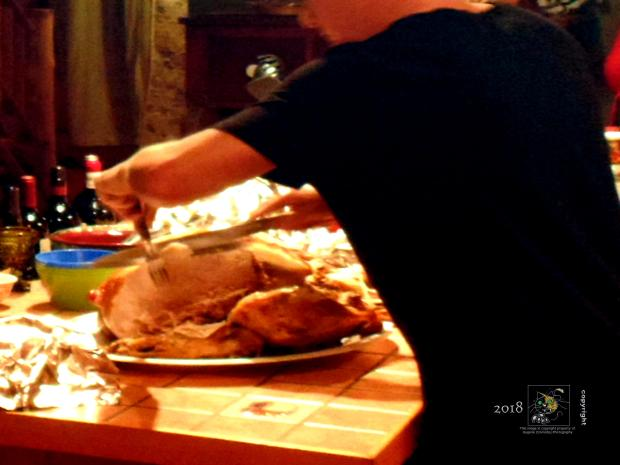Big bird carve or more specifically, sliced up roast turkey served with complimentary foods is a North American traditional.