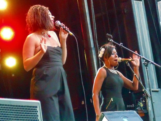 Divas entertain excited, packed, crowd in front of huge Rio Tinto Alcan stage during 2015 annual Montreal International Jazz Festival.