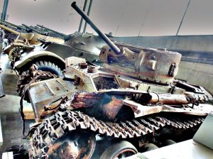 Weathered Valentine Tank Mk VIIA, no. 838, built in Montreal May 1943 loaned to Stalin's communist regime survived decades under water.