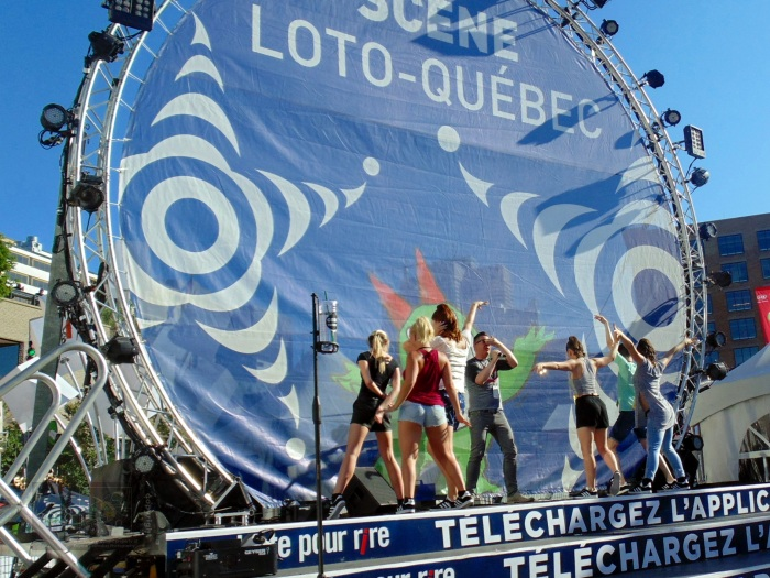 Techno noise fills air in famous Quartier-des-Spectacles during 2017 Just-for- Laughs Festival.