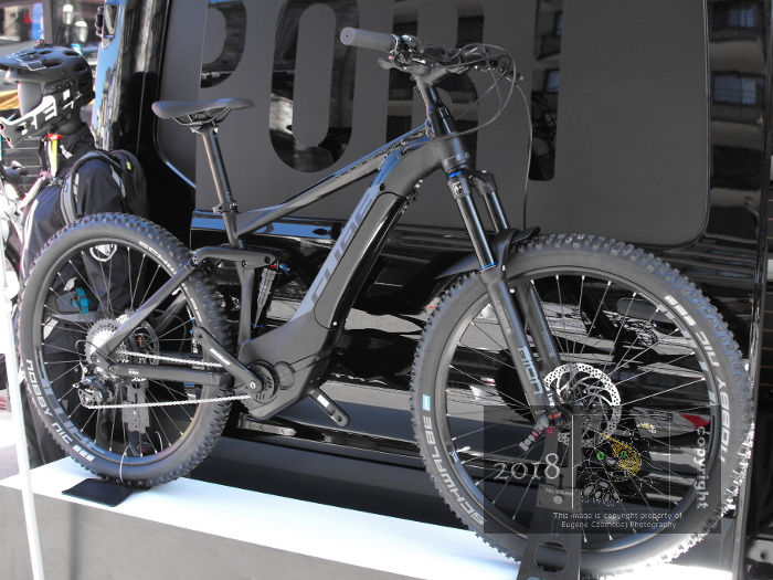 The Cube Stereo Hybrid 140 ebike depicted boosted by Bosch CX electric motor can easily haul cyclist over some very difficult terrain.