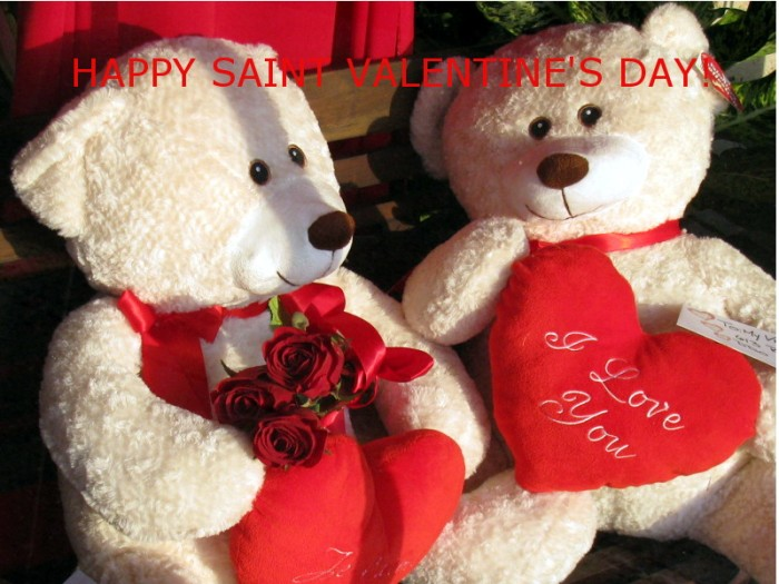 White Teddy Bears express their love on Valentine's Day.